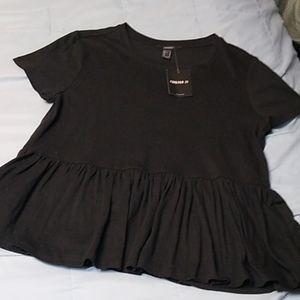 Forever 21 Solid Black Peplum T Shirt Top Medium